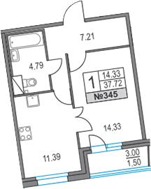 1-к.кв, 37.72 м², 16 этаж