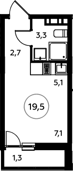 Студия, 22.53 м²