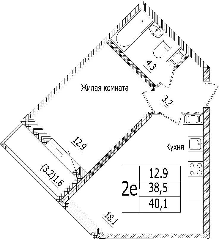 2-к.кв (евро), 41.7 м²