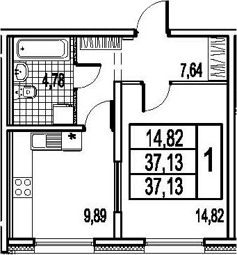 1-к.кв, 37.13 м²