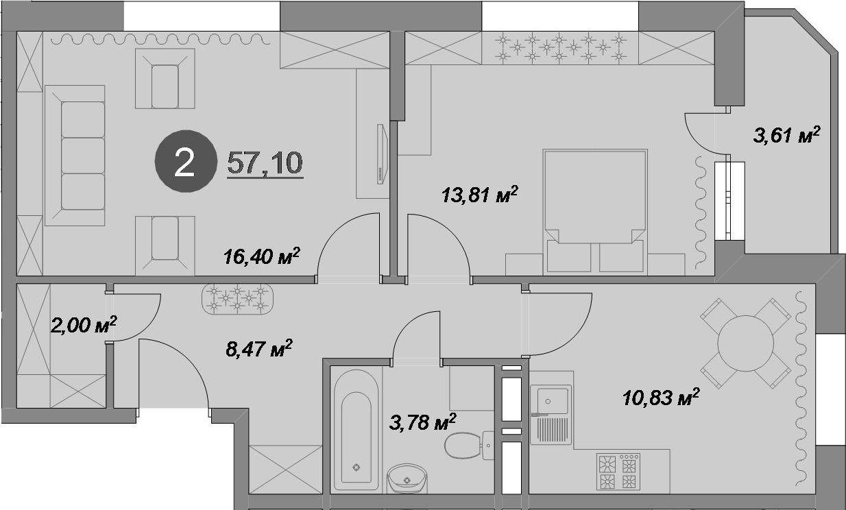 2-к.кв, 57.1 м², 1 этаж