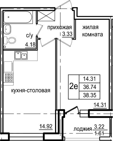 2Е-к.кв, 38.35 м², 2 этаж