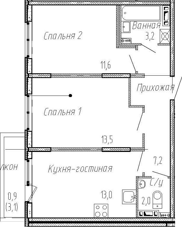 2-комнатная, 50.5 м²– 2