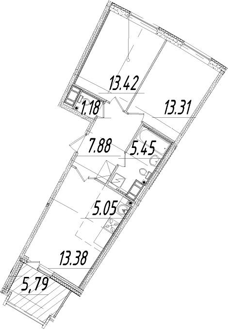 3Е-комнатная, 62.57 м²– 2