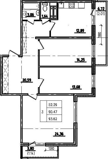 3-к.кв, 100.98 м²