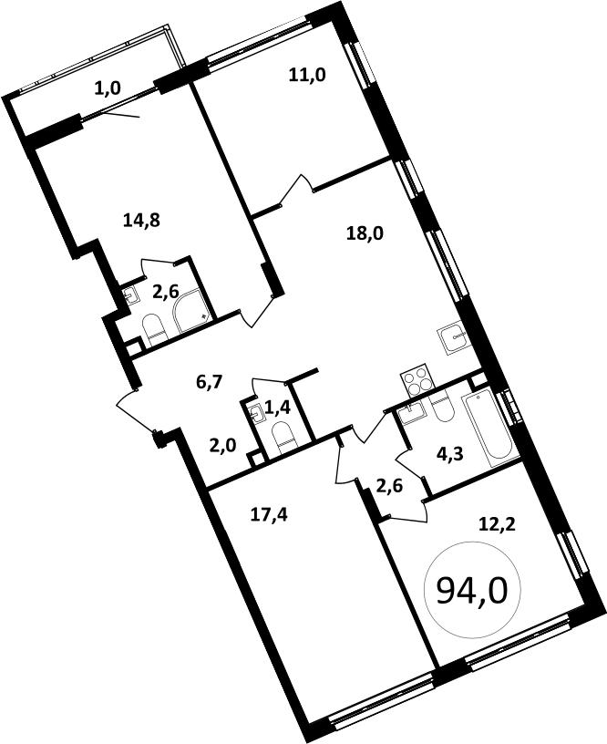 5-к.кв (евро), 95 м²
