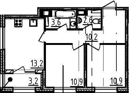 2-к.кв, 53 м²