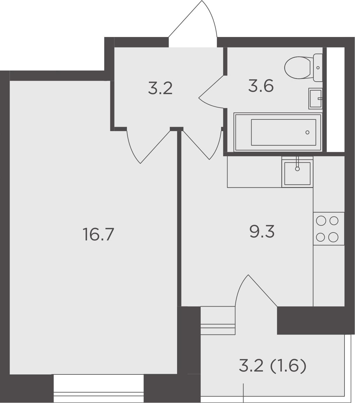 1-к.кв, 34.4 м², от 9 этажа