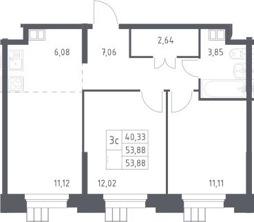 3Е-к.кв, 53.88 м²