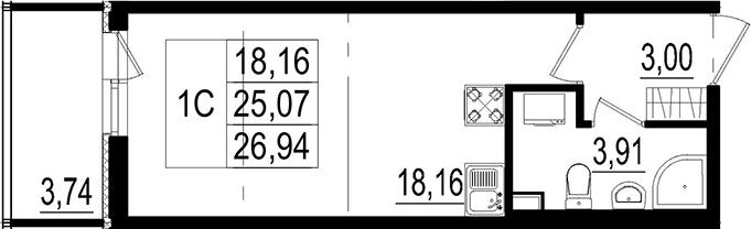 Студия, 25.07 м²