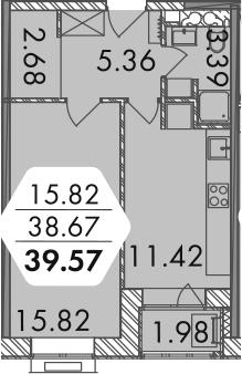 1-комнатная, 39.66 м²– 2