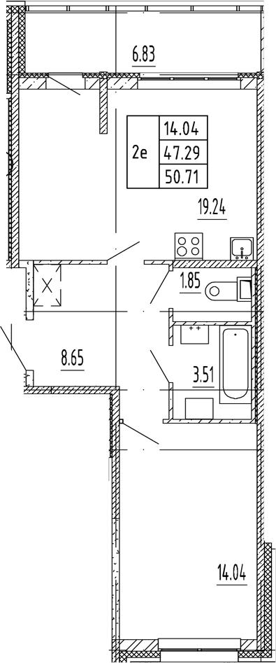 2Е-комнатная, 47.29 м²– 2