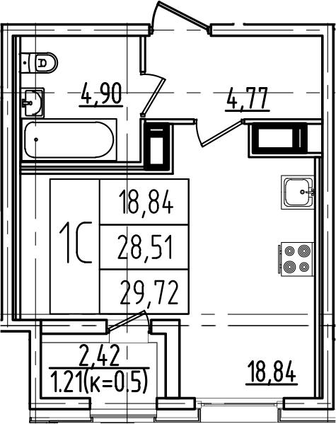 Студия, 29.72 м²