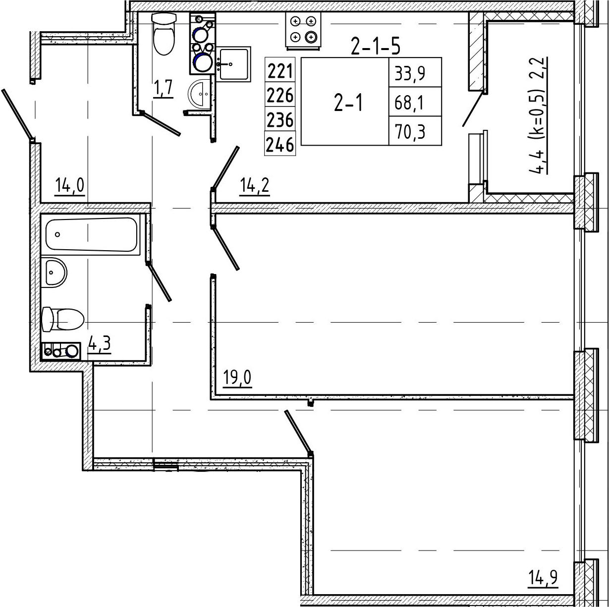 2-к.кв, 72.5 м²