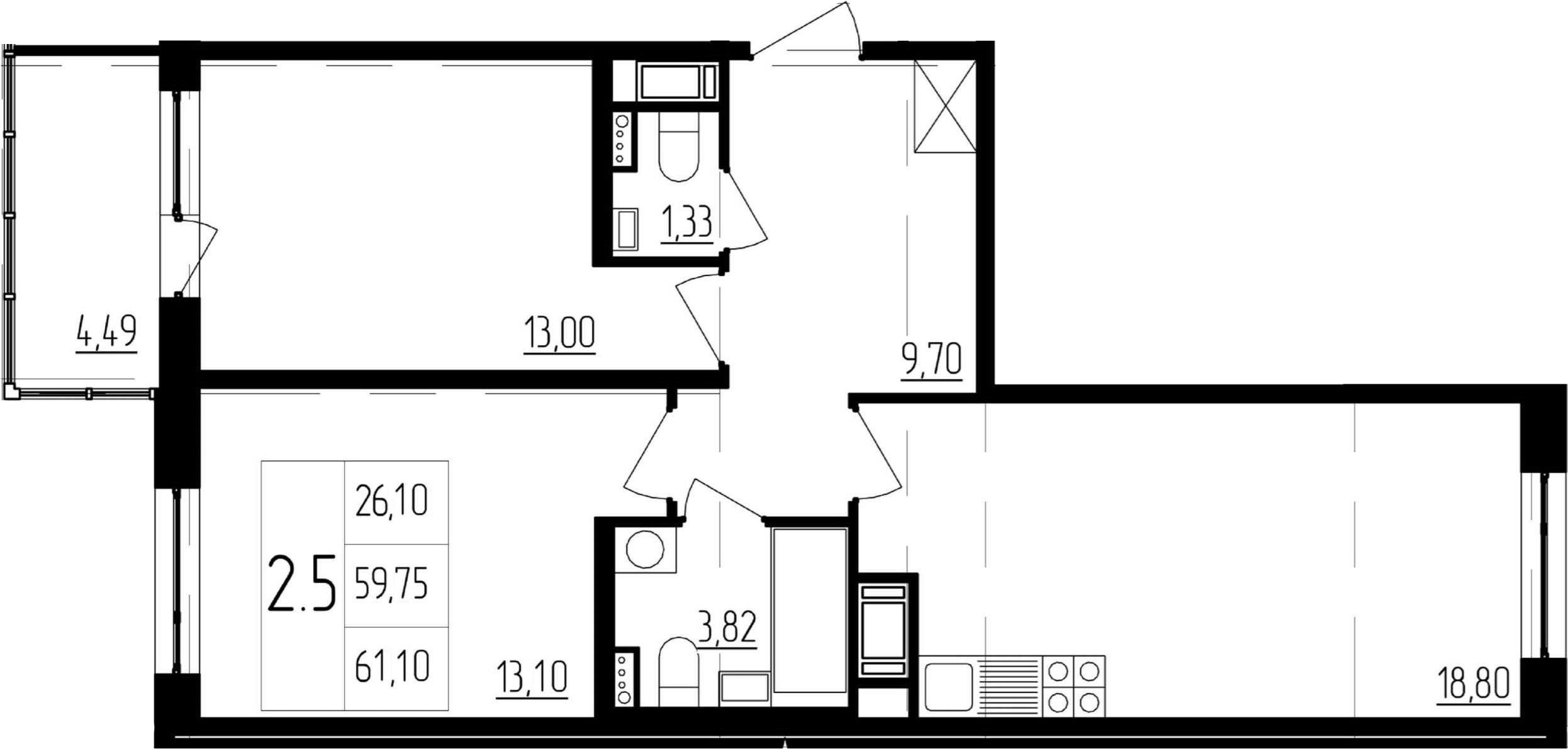 3Е-к.кв, 59.75 м²