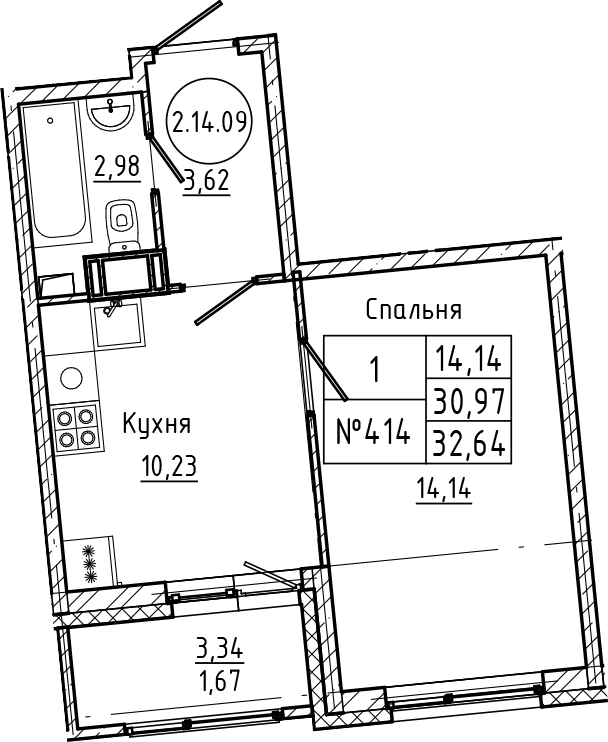 1-комнатная, 32.64 м²– 2