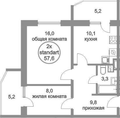 2-к.кв, 68 м²