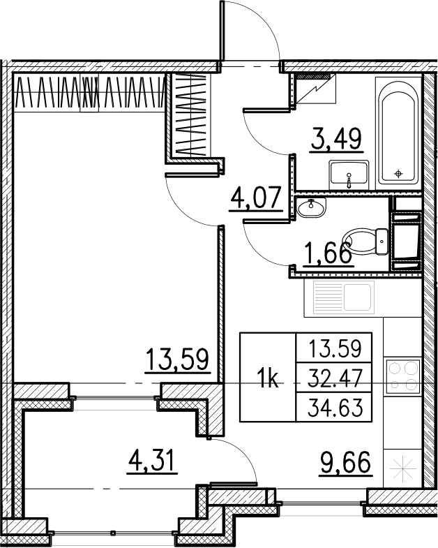 1-комнатная, 34.63 м²– 2