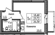 Студия, 26.5 м²– 2