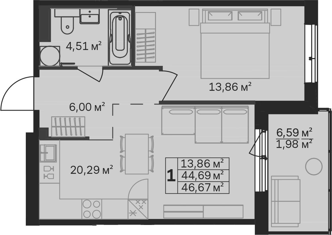 2-к.кв (евро), 51.29 м²