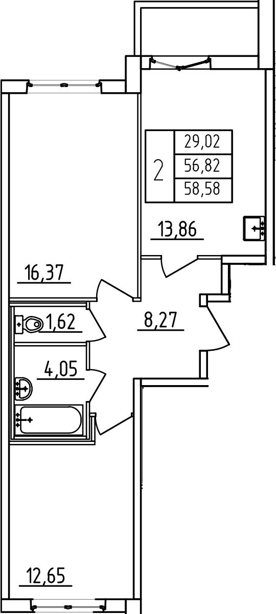 2-к.кв, 60.34 м²