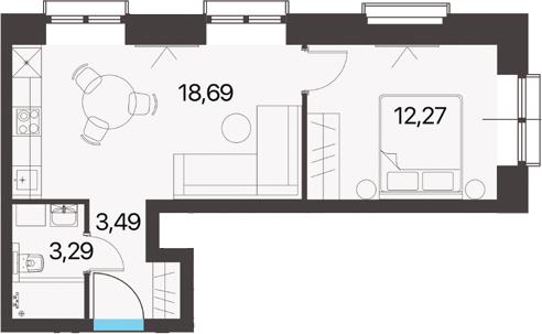 1-комнатная, 37.74 м²– 2