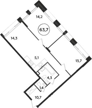 3-к.кв (евро), 63.7 м²