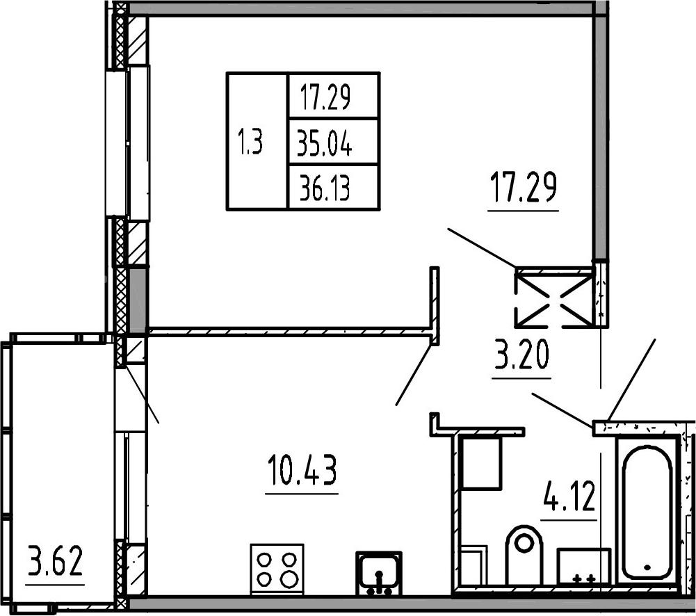 1-комнатная, 35.04 м²– 2