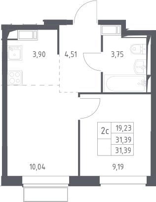 2Е-к.кв, 31.39 м², 4 этаж