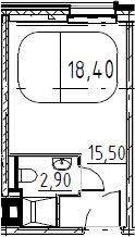 Студия, 18.4 м², от 8 этажа