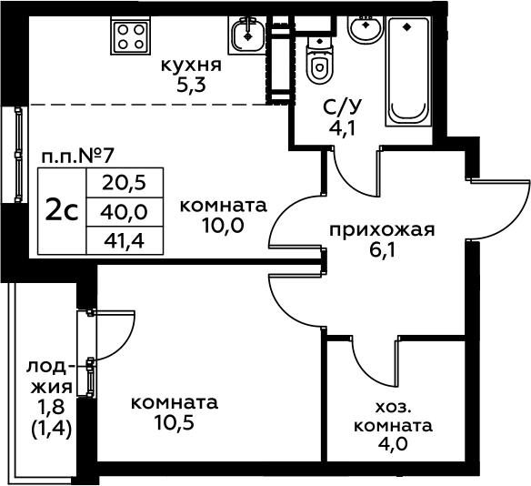 2Е-комнатная, 41.4 м²– 2