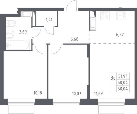 3Е-к.кв, 50.04 м², 18 этаж