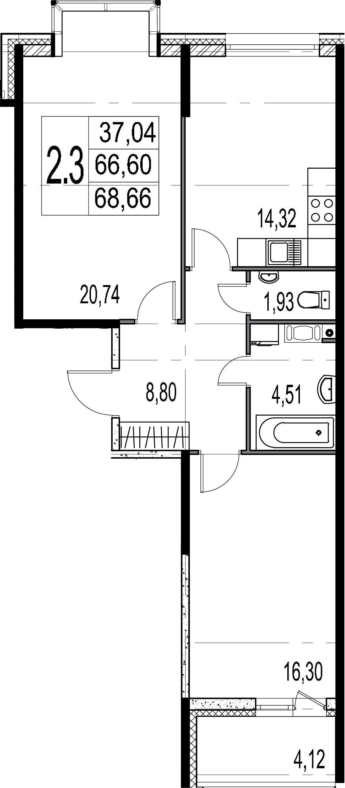 2-к.кв, 70.72 м²