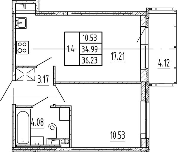 2Е-комнатная, 34.99 м²– 2