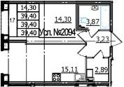 2Е-к.кв, 39.4 м², 1 этаж