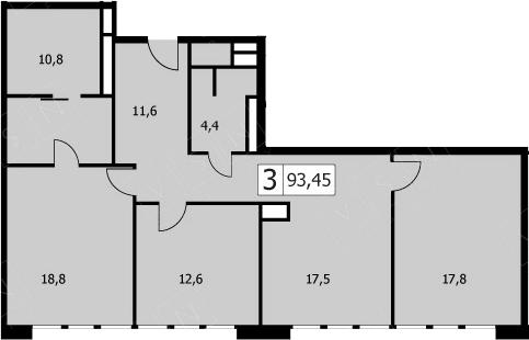 4Е-комнатная, 91.5 м²– 2