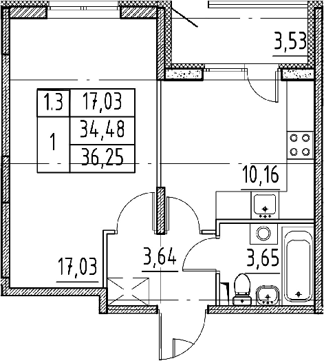 1-к.кв, 34.48 м², 1 этаж