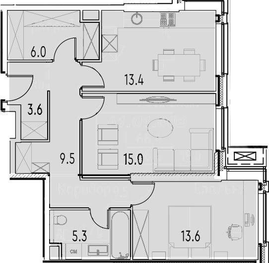 2-к.кв, 66.4 м²
