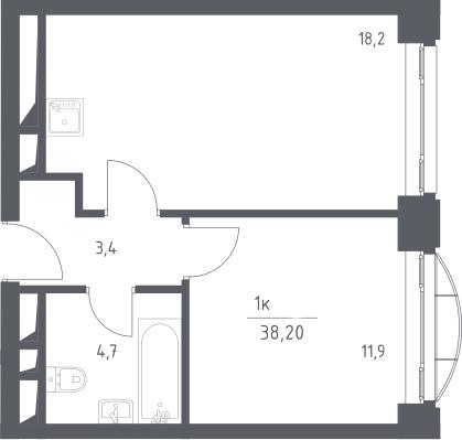 2Е-к.кв, 38.2 м², 9 этаж