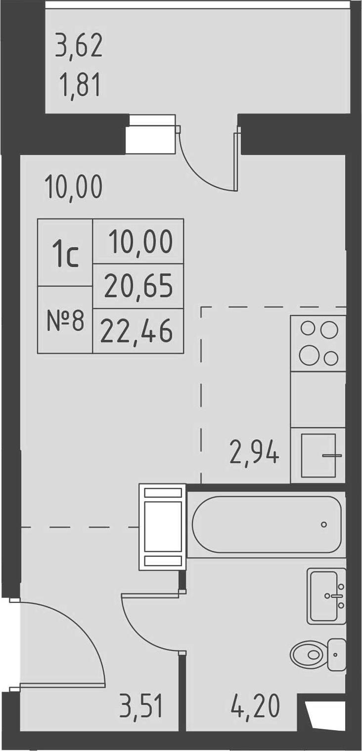 Студия, 22.46 м²