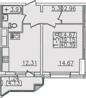 1-комнатная, 40.39 м²– 2