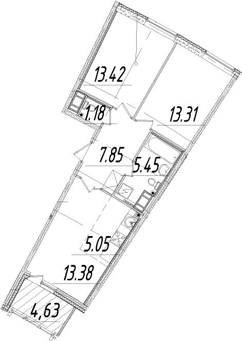 3Е-комнатная, 61.96 м²– 2