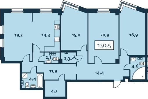 4-к.кв (евро), 130.52 м²