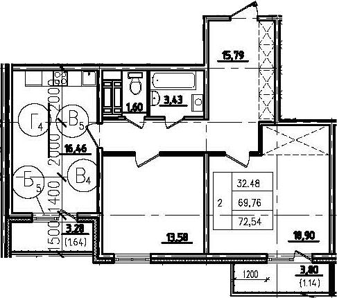 2-к.кв, 76.84 м²