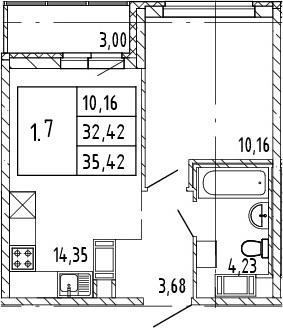 2Е-комнатная, 35.42 м²– 2