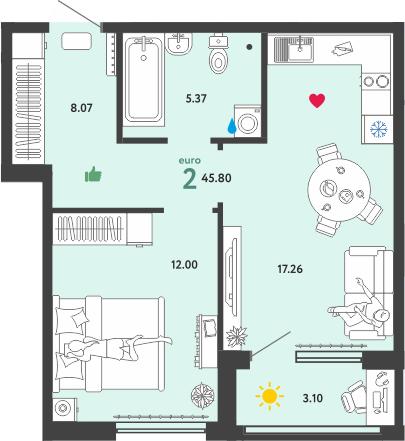2Е-к.кв, 45.8 м²