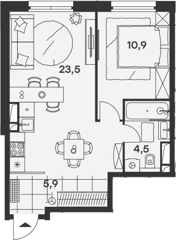 2Е-комнатная, 44.8 м²– 2