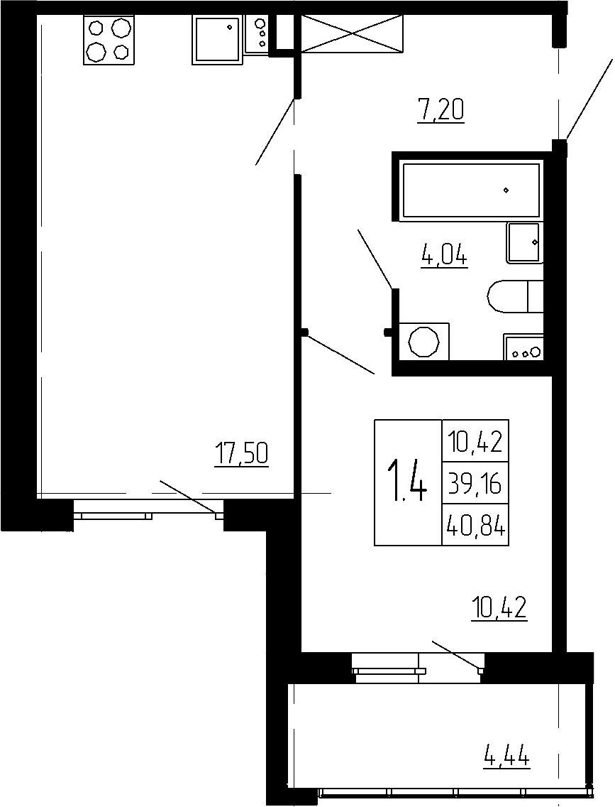 2Е-к.кв, 39.16 м², 2 этаж