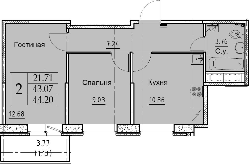 2-к.кв, 44.2 м²