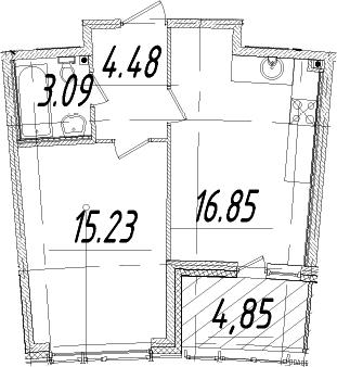 1-к.кв, 42.08 м², от 9 этажа